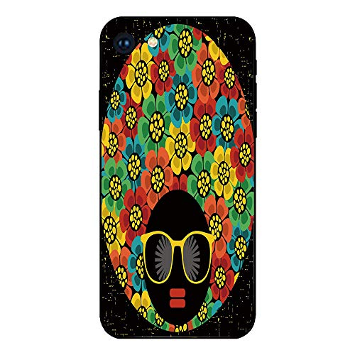 Phone Case Compatible with iphone7 iphone8 mobile phone covers phone shell Brandnew Tempered Glass Backplane,70s Party Decorations,Abstract Woman Portrait Hair Style with Flowers Sunglasses Lips Graph -