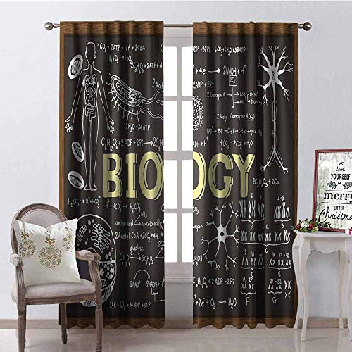 (GloriaJohnson Educational Shading Insulated Curtain Black Chalkboard Biology Hand Written Symbols School Classroom Soundproof Shade W52 x L95 Inch Black Brown Pale Yellow)