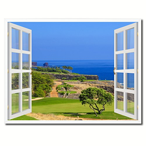Coastal Golf Course View Picture French Window Art Framed Print on Canvas Office Wall Home Decor Collection Gift Ideas, 22