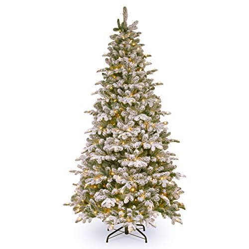 6.5' Pre-Lit Snowy Everest Fir Artificial Christmas Tree - Clear - Everest Christmas Tree