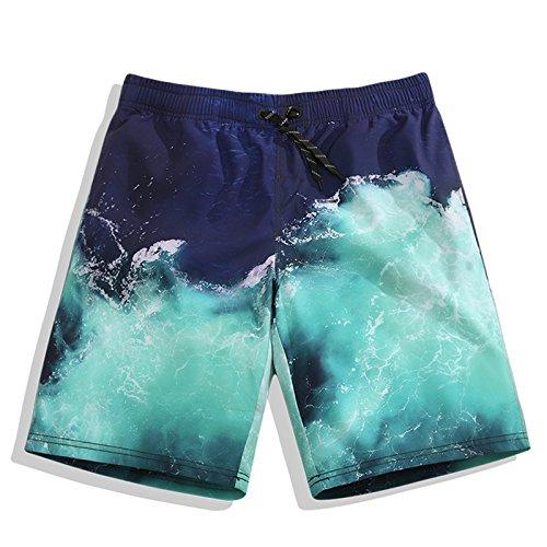 OME&QIUMEI Men& 039;s Casual Hosen Fünf Strand Hosen Strand Fast Dry Lose Heißer Frühling Blumen Sommer Badehose Shorts