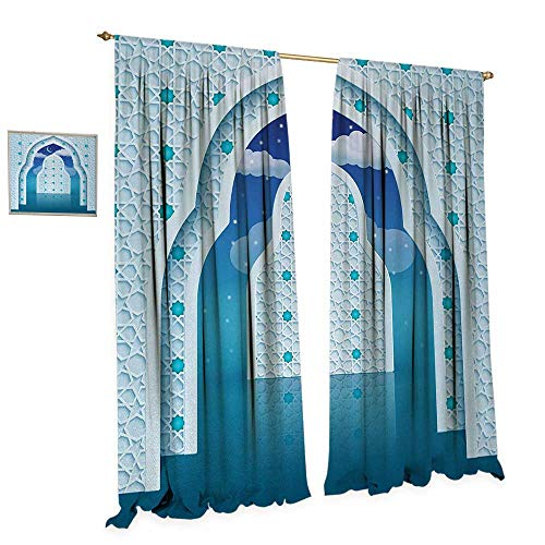 Anniutwo Moroccan Window Curtain Drape Eastern Arabic Quote Textured Arch Door with Cloudy Star Sky Night Backdrop Print Decorative Curtains for Living Room W120 x L84 Navy Blue