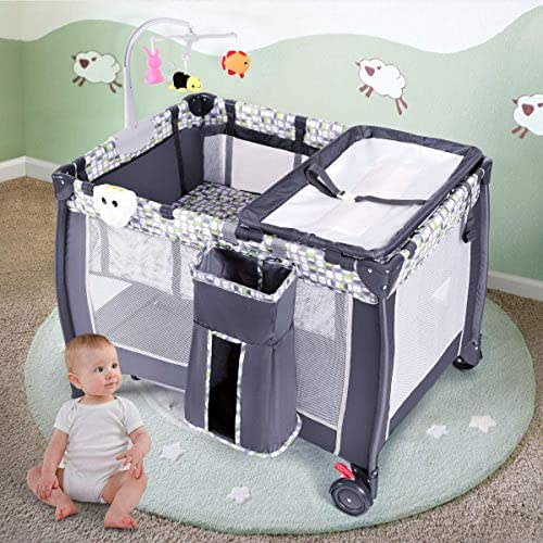 Costzon Baby Playard, 3 in 1 Convertible Playpen with Bassinet, Changing Table, Foldable Bassinet Bed with Music Box, Whirling Toys, Wheels & Brake, Large Capacity Basket, Oxford Carry Bag (Grey)