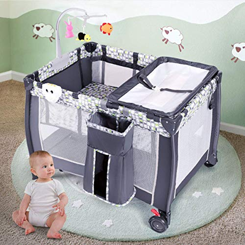 (Costzon Baby Playard, 3 in 1 Convertible Playpen with Bassinet, Changing Table, Foldable Bassinet Bed with Music Box, Whirling Toys, Wheels & Brake, Large Capacity Basket, Oxford Carry Bag (Grey))