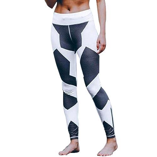 FEITONG Mujer Impreso Deportes Gimnasio Flaco Aptitud Pantalones de yoga Polainas