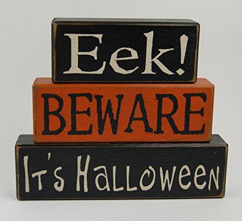 NEW! EEK! Beware It's Halloween -Primitive Wood Sign Shelf Sitting Blocks - Holiday, Seasonal, Halloween, Fall, Home -