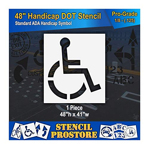 "Pavement Stencils - 48 inch - Handicap - ADA Stencil - 48"" x 41"" x 1/8"" (128 mil) - Pro-Grade"