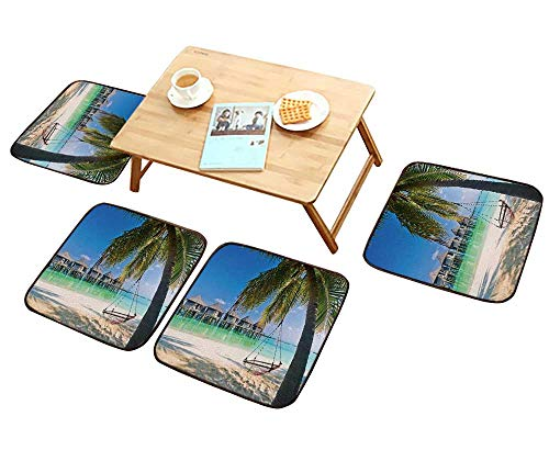 (HuaWu-home Comfortable Chair Cushions Beach Hammock Under Palm Trees Reuse can be Cleaned W17.5 x L17.5/4PCS Set)