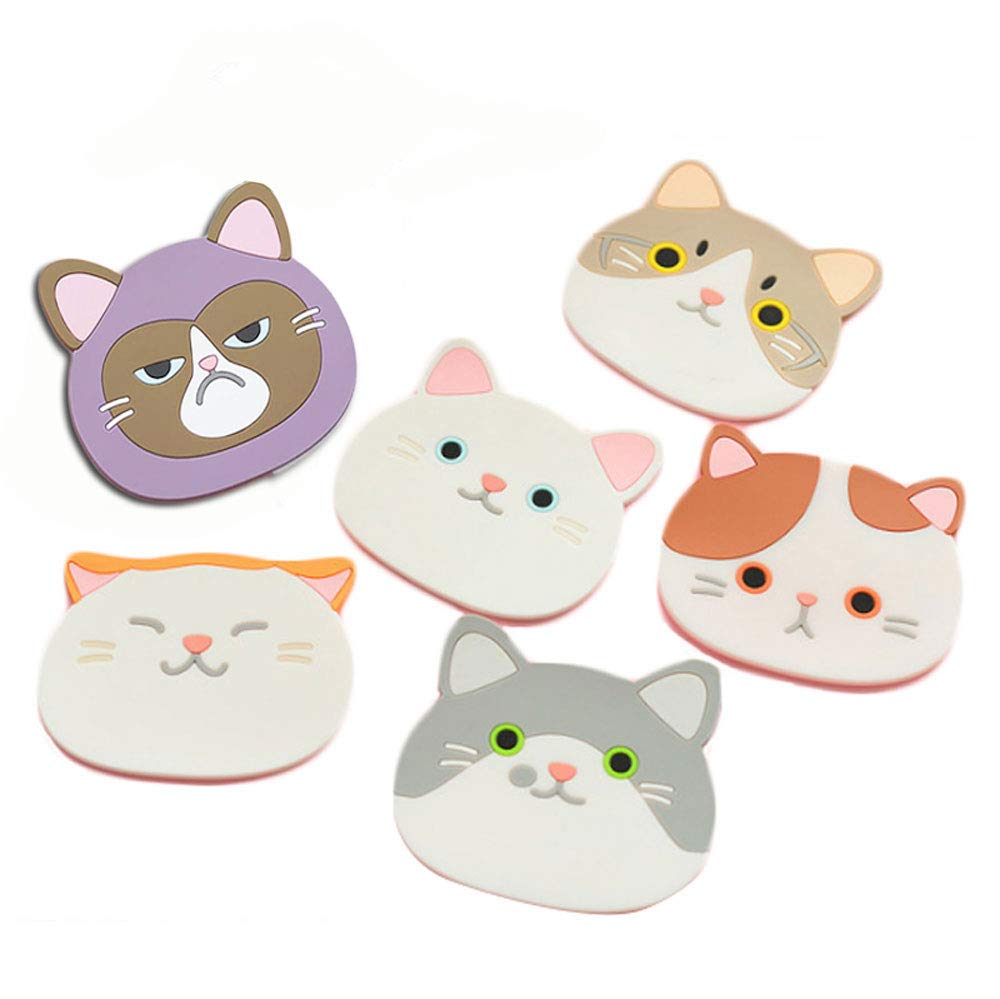 Cat Cup Silicone Coaster Mug - Rubber Mat for Wine, Glass, Tea- Best Housewarming Beverage, Drink, Beer- Home House Kitchen Decor - Wedding Registry Gift Idea (Cat Cup Mat) product image
