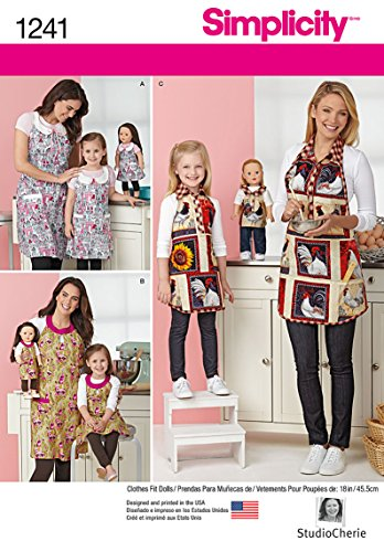 Simplicity Creative Patterns 1241 Child's and Misses' Aprons and Aprons for 18-Inch Doll, Size: A S - L / S - L ()