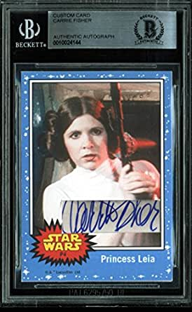 Carrie Fisher Star Wars Authentic Signed Custom Card Autographed BAS Slabbed