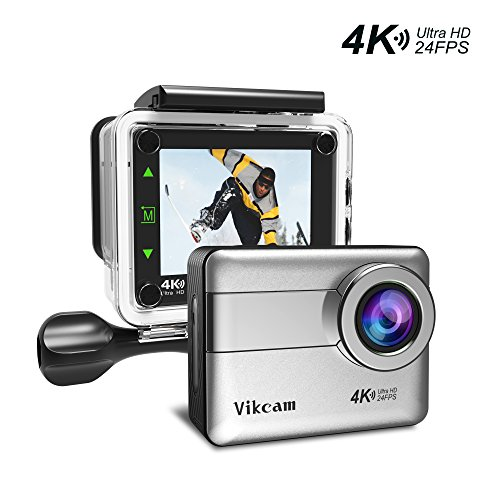 Action Camera 4K 20MP WIFI Ultra HD Waterproof Sport Camera Vikcam Action Cam with 2.31 Inch LCD Touch Screen 170 Degree Wide Angle Lens - Silver Action Cameras Vikcam