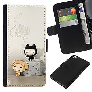 EJOY---La carpeta del tirón la caja de cuero de alta calidad de la PU Caso protector / HTC Desire 820 / --Gato lindo Amigos