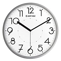 Modern Simple Concise Design Decorative Quiet Silent Non Ticking Quartz Analog Wall Clock - 13 Silver Frame/Black Hands