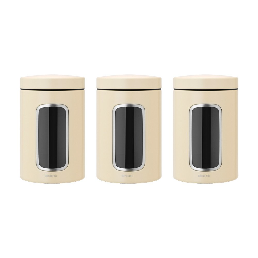Brabantia Window Canister Set, 1.4 L - Almond, 3 Pieces 380341 coffee jars storage bin storage bins