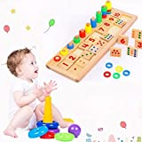 Baby Early Education Montessori Wooden Toys for Math Numeric Learning, Preschool Stacking Color Sorter Toys Self-Correcting Wooden Number Puzzles