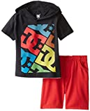 DC Shoes Co Little Boys' black hooded Tee with red Shorts, black, 2T