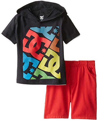 DC Shoes Co Little Boys' black hooded Tee with red Shorts