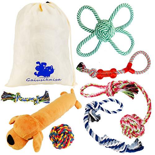 GaiusiKaisa Dog Toys Rope for Small & Medium Dogs(7 Pack Set)- Chew Toys - 100% Natural Cotton Ropes - Squeak Toy - Dog Ball - Dog Bones - Plush Dog Toy - Tug of War Ball – Teething Toys