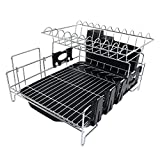 Addmirre 2 Tier Black Soild Plastic Drainers Dish Drying Rack,Large Capacity