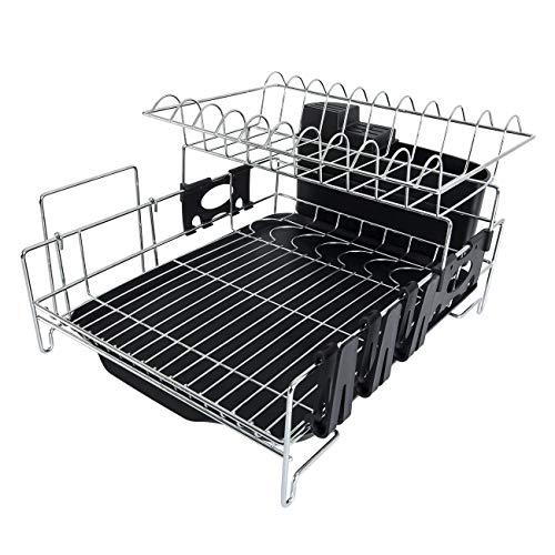 Addmirre 2 Tier Black Soild Plastic Drainers Dish Drying Rack,Large Capacity ()