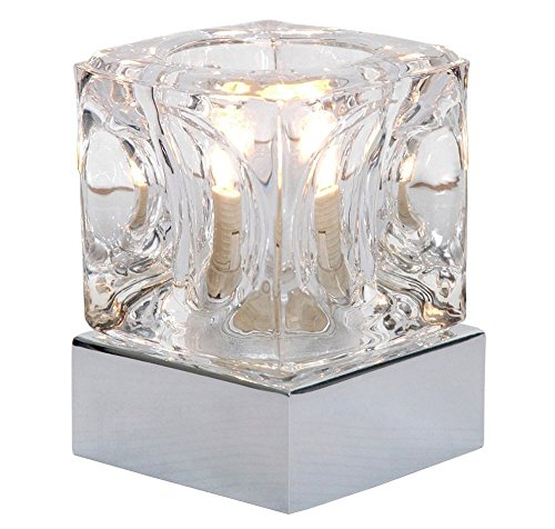 Glass Stage (Modern Ice Cube Glass 4 Stage Touch Dimmable Table Lamp with Chrome Base By Haysom Interiors)