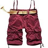 xiaokong Men's Straight Baggy Cargo Shorts Midi Shorts without Belt Wine Red 29