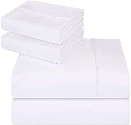 Utopia Bedding 4 Pièce Draps de Lit Ensemble - Microfibre Brossé - (Blanc, King)