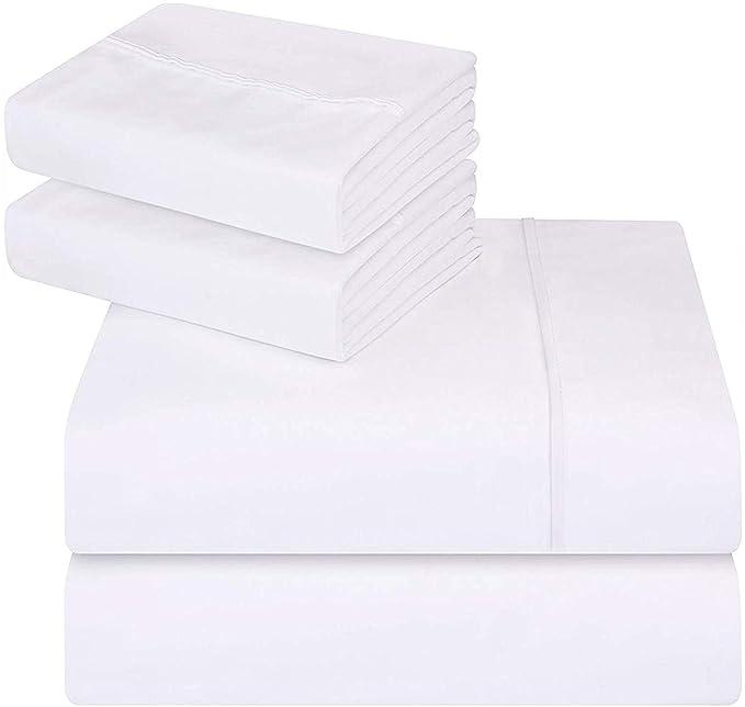 Utopia Bedding 4 Pièce Draps de Lit Ensemble - Microfibre Brossé - (Blanc, Double)