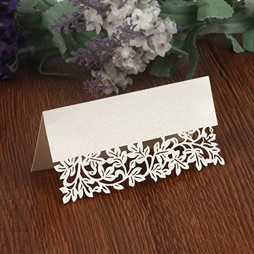 50PCS Wedding Guest Name Place Cards Party Table Name Place Cards Paper Table Numbers Place Card Escort Name Card Laser Cut Design for Wedding Party Decoration Favor (White-Flowers)