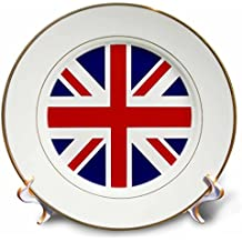 "3dRose British Flag-Red White Blue Union Jack Great Britain United Kingdom UK England English Souvenir Gb-Porcelain Plate, 8"" (cp_159852_1)"