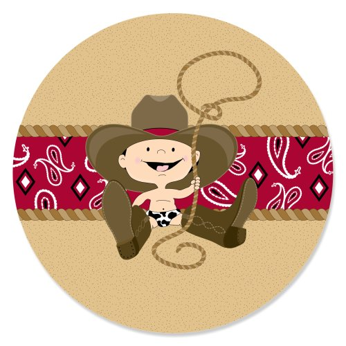 Little Cowboy - Western Baby Shower or Birthday Party Circle Sticker Labels - 24 Count