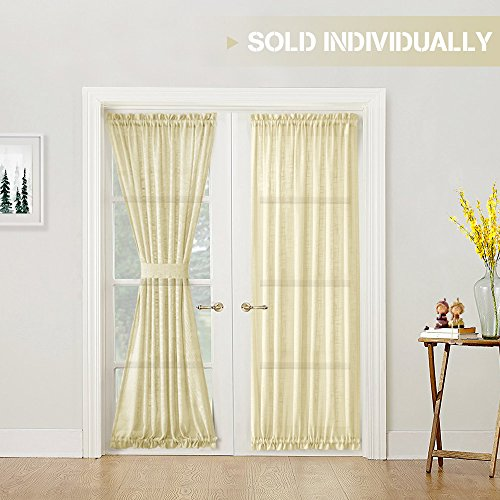 (Linen Textured French Door Curtains Privacy Open Weave Sheer French Door Panels 72 inch Length, 1 Panel, Ivory, Tieback Included)