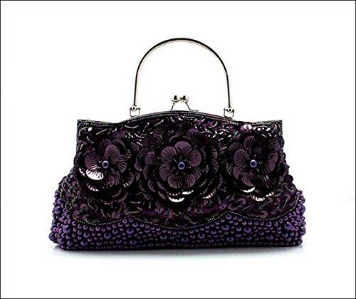 GSHGA Para Mujer Bolsos De Embrague Bolsa De Cuentas Bordado Vestido De Noche Bolsa Bolsa De Bolsa De La Cadena Retro,Red Purple
