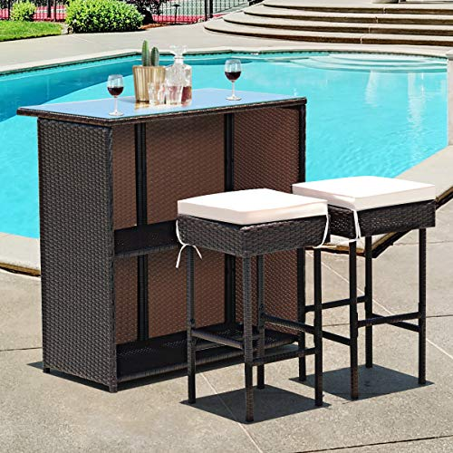 Tangkula Patio Bar Set, 3 Piece Outdoor Rattan Wicker Bar Set with 2 Cushions Stools & Glass Top Table, Outdoor Furniture Set for Patios, Backyards, Porches, Gardens or Poolside (Brown) (Bars Outdoor)