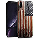 iPhone XR Cases,Tempered Glass Back Shell Cool Wood Flag Pattern Design with Soft TPU Bumper Anti-Scratch Case for Men Boys Fashion Apple iPhone XR Cases - Red Camo American Flag