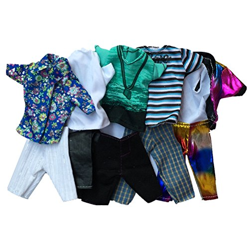 5 Sets Fashion Casual Wear Doll Clothes Jacket Pants Outfits Accessories for Men Boy Ken Barbie Dolls Kids Birthday Xmas Gift Random Style