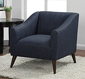 Quincy Modern Decorative Blue Linen Upholstered Living Room Accent Chair  Comfortable Armchair