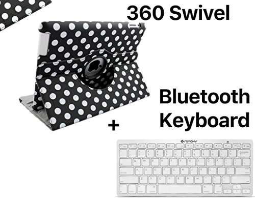 art Rotate Swivel Cover Case Stand and Bluetooth Keyboard for iPad2/3/4, Black Swivel (SANOXY-IPAD-360-BTKYB-BK) ()