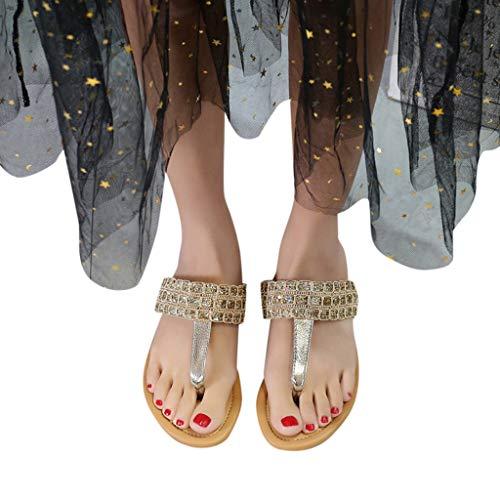 Knee Inch Boot 4 1/2 (Behkiuoda Women Flat Flip Flops Slipper Shoes Open Toe Breathable Summer Beach Sandals Slip-On Shoes Gold)