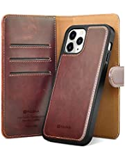 """PULOKA Compatible with iPhone 12 Pro Max Wallet Case [2 in 1 Detachable Magnetic Protective] PU Leather Card Holder Flip Cover Phone Case for iPhone 12 Pro Max 6.7"""" brown"""