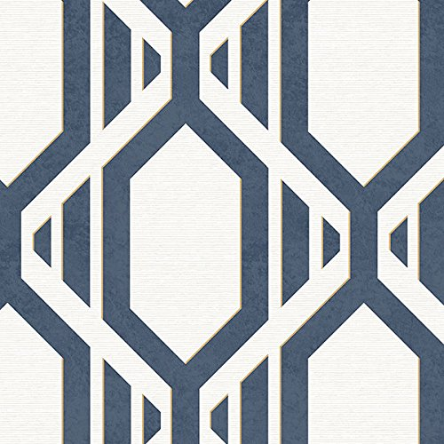 Manhattan comfort NWSH34547 Cardiff Series Vinyl Geometric Strip Design Large Wallpaper Roll, 20.5