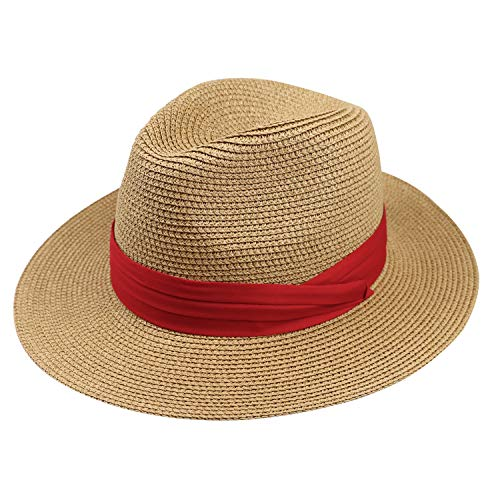 DRESHOW Women Straw Panama Hat Fedora Beach Sun Hat Wide Brim Straw Roll up Hat UPF 50+ (Khaki Red Ribbing) (Summer Red Straw)