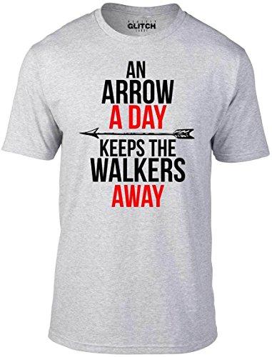 (Reality Glitch Mens an Arrow a Day T-Shirt (Light Grey-XX-Large))