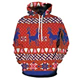 Men's Christmas Printing Hooded Athletic Sweaters Hoodie Hooded Sweatshirts (Red, M-L)