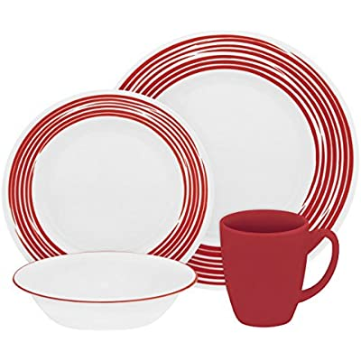 Click for Corelle Boutique Brushed 16-Pc Dinnerware Set, Red /w 3 Bonus Clips