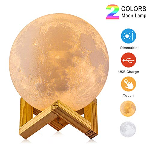 Moon Lamp, 3D Print LED Two Colors, USB Rechargeable Lunar Night Light & Touch Control Dimmable Moon Light Decor with Stand for Baby Kids Lover Birthday Christmas Gifts (Diameter 3.9 inch)