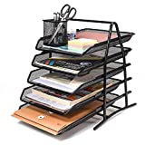 Acko 3 Tier Mesh File Organizer Office Desk Organizer Document Letter Tray Organizer with 5 Tiered Sections ,Black (5 Tier)