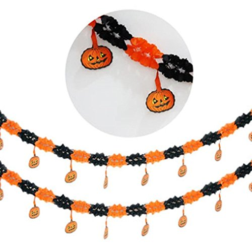 New Paper Festoon Pumpkin Spider Ghost Witches Party Hanging Garland (Halloween Pumpkin Cutouts Printable)