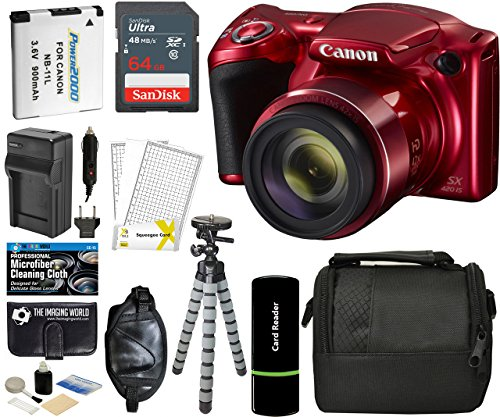 Red Digital Video (Canon PowerShot SX420 IS Digital Camera (Red) with 20MP, 42x Optical Zoom, 720p HD Video & Built-In Wi-Fi + 64GB Card + Reader + Grip + Spare Battery and Charger + Tripod + Complete Accessory Bundle)